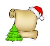 Carte de papier de rouleau de Noël avec l'arbre de chapeau, de chapeau et de Noël de Santa Illustration de vecteur d'isolement su Image libre de droits