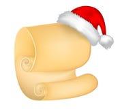 Carte de papier de rouleau de Noël avec le chapeau de Santa, chapeau Illustration de vecteur sur le fond blanc Image libre de droits