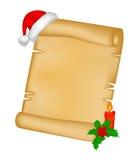 Carte de papier de rouleau de Noël avec le chapeau de Santa, le chapeau et la baie de houx Illustration de vecteur d'isolement su Photo libre de droits