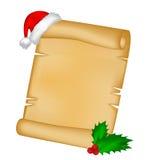 Carte de papier de rouleau de Noël avec le chapeau de Santa, le chapeau et la baie de houx Illustration de vecteur sur le fond bl Photographie stock libre de droits
