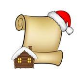 Carte de papier de rouleau de Noël avec le chapeau de Santa, le chapeau et la maison neigeuse Illustration de vecteur d'isolement Image stock