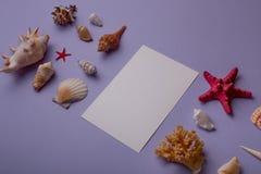 Carte de papier et coquillages Photos libres de droits