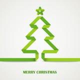 Carte de papier pliée d'arbre de vert de Noël Photographie stock libre de droits