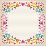 Carte de papier rayée par frontière de joyeux anniversaire Photo stock