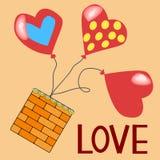Carte de papier rouge de jour de Valentines de coeurs Images stock