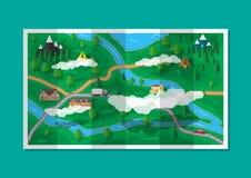 Carte de papier suburbaine de nature GPS et navigation illustration libre de droits