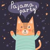 Carte de partie de pyjama avec un chat mignon Photographie stock