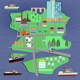 Carte de paysage de 02 villes illustration de vecteur
