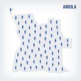 Carte de personnes de vecteur de l'Angola Le concept de la population Illustration Stock