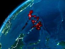 Carte de Philippines la nuit Photo stock