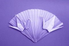 Carte de photo d'origami - le papier tend le cou les photos courantes de fan Photos libres de droits
