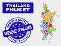 Carte de Phuket d'outils de collage et rayé réuni dans le joint de timbre de la Bulgarie illustration libre de droits