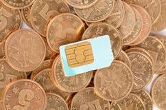 Carte de pièce de monnaie et de sim Image libre de droits