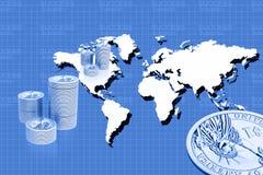 Carte de pièce de monnaie et du monde Photographie stock
