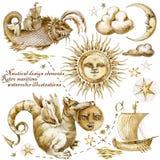 Carte de pirate Éléments nautiques de conception rétros illustrations maritimes d'aquarelle illustration libre de droits