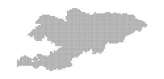 Carte de pixel du Kirghizistan Dirigez la carte pointillée du Kirghizistan a isolé sur le fond blanc Infographie abstraite de car Images stock