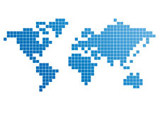 Carte de Pixel du monde Photo libre de droits