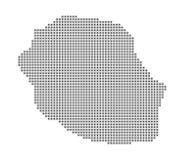 Carte de pixel de la Réunion Dirigez la carte pointillée de la Réunion d'isolement sur le fond blanc Infographie abstraite de car Photo libre de droits