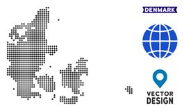 Carte de Pixelated Danemark illustration stock