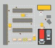 Carte de plan de vue supérieure d'entrepôt Vecteur illustration libre de droits