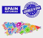 Carte de province des Asturies de technologie de mosaïque et rayé réuni dans le joint de timbre de l'Espagne illustration de vecteur