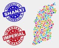 Carte de province de Shanxi de paquet et affliger les timbres assemblés et impériaux illustration libre de droits