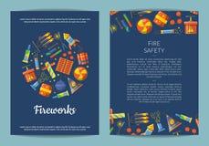 Carte de pyrotechnie de bande dessinée de vecteur illustration stock