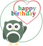 Carte de réception de joyeux anniversaire de vecteur avec le hibou mignon Photo libre de droits