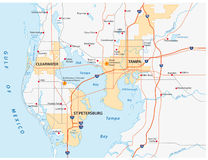 Carte de région de Tampa Bay Photographie stock