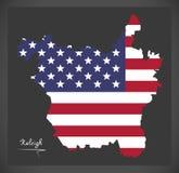 Carte de Raleigh North Carolina avec l'illustrat américain de drapeau national illustration stock
