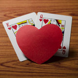 Carte de reine de coeur et de roi Image stock