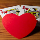 Carte de reine de coeur et de roi Photographie stock libre de droits