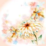 Carte de ressort avec la libellule et la Lily Flower Photographie stock libre de droits