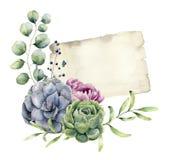 Carte de ressort d'aquarelle avec la conception florale Te de papier peint à la main Images libres de droits