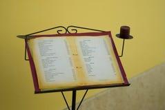 Carte de restaurant Photos libres de droits