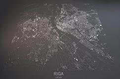 Carte de Riga, vue satellite, carte dans le négatif, Lettonie Images libres de droits