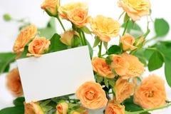 Carte de Rose et de message Images stock