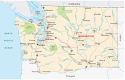 Carte de route de l'état de Washington Photographie stock
