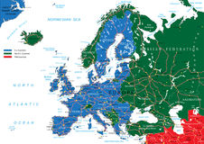 Carte de route de l'Europe Photo stock