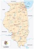 Carte de route de l'Illinois avec le drapeau illustration de vecteur