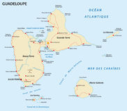 Carte de route de la Guadeloupe illustration stock