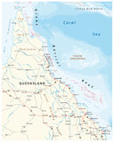 Carte de route de la péninsule de York de chapeau avec la Grande barrière de corail, Queensland, Australie Photographie stock