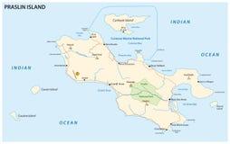 Carte de route de Praslin, Seychelles Photos libres de droits