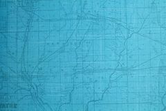 Carte de route teintée par bleu photos libres de droits