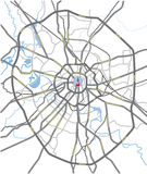 Carte de routes de Moscou Images stock