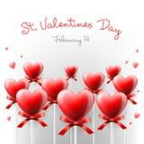 Carte de Saint-Valentin avec des lucettes en forme de coeur Photos libres de droits