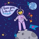 Carte de Saint-Valentin avec l'astronaute illustration libre de droits
