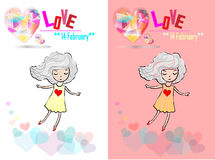 Carte de Saint-Valentin avec la fille et les coeurs illustration libre de droits