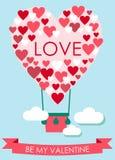 Carte de Saint-Valentin avec le ballon en forme de coeur de vol Image libre de droits