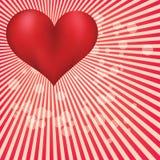 Carte de Saint Valentin avec le coeur rouge énorme illustration de vecteur